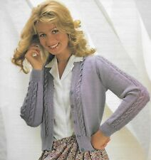 "Ladies/women's cable detail cardigan knitting pattern 32"" - 42"" 4 ply 337"