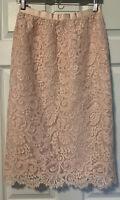 Vintage Oscar de la Renta Lined Lace Midi Pencil Skirt Blush Pink Cottagecore