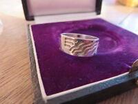 Toller  925 Silber Ring Tribal Wellen Unisex Designer Retro Modern Breit