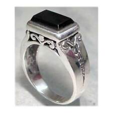 DAINTY  FILIGREE SCROLL RECTANGLE ONYX  RING - SIZE 8__925 STERLING SILVER