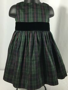 Gymboree Holiday Classics Baby Girl Size 6-12 Months Grn Christmas Plaid Dress