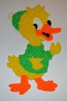 Vintage Easter Green Dressed Duck Melted Plastic Popcorn Decoration Hanging