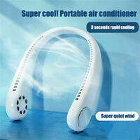 Portable 2 In 1 Type-c White Hanging Neck Fan Cool Air Cooler Air Conditioner