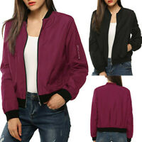 Women Zip Up Biker Bomber Jacket Slim Fit Casual Short Coat Outwear Tops US