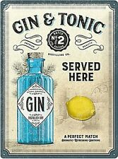 Gin & Tonic Served Here large embossed metal sign 400mm x 300mm (na)