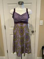 prAna Purple & Green Floral Athletic Dress, Size Medium