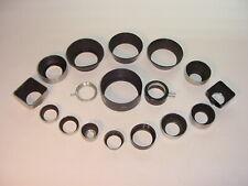 Vtg Lot 17 Lens Hood Shade Ring Metal Square Bolex Hoya Screw-On Series # MM #2