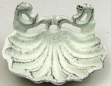 "Seashell Soap Dish Cast Iron Painted Antique White 5"" W. Bath Nautical Decor"