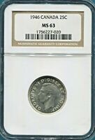 CANADA - FANTASTIC HISTORICAL GEORGE VI SILVER  25 CENTS, 1946, NGC GRADED MS 63