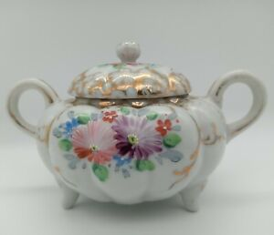 Hand-Painted Fine Porcelain Footed Lidded Sugar or Trinket Dish Pink and Purple