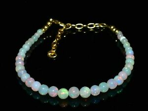 AWESOME NATURAL OPAL SMOOTH POLISHED ROUND BALLS BRACELET