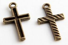 Free Ship 20Pcs Bronze Plated Cross Charms Pendants 12x22mm(Lead-free)
