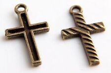 Free Ship 20Pcs Bronze Plated Cross Charms Pendants 12x22mm(Lead-free)