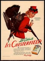 1941 Woman Hunter PHEASANT HUNTING w/shotgun Vintage Chesterfield Cigarettes AD