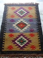 Hand Woven Kilim Rug Vintage Jute Yoga Mat Ethnic Area Rug Indian Carpet Runner