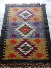 Hand Woven Kilim Rug Vintage Jute Yoga Mat Ethnic Area Rug Indian Carpet Runner