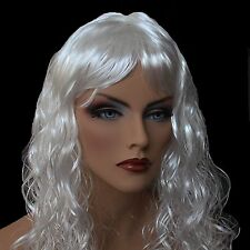 """18"""" Long White Synthetic Curly Wavy Hair Wig for Cosplay Party Fancy Dress, NEW"""