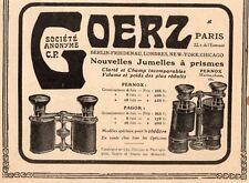 GOERZ JUMELLES A PRISMES PERNOX  22 RUE ENTREPOT PARIS PUBLICITE 1909 FRENCH AD