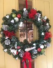 Luxury Christmas Door Wreath Bauble Sprays Cones Hearts Satin Red Silver 50cm