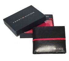Men's Tommy Hilfiger Textured Leather Lite Black Tan Pocket Wallet Cards Pocket