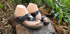 MEPHISTO Helen Black Patent Leather Thong Slides Sandals Shoes Women's 38 / 8