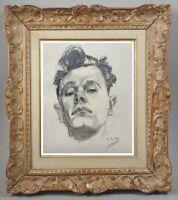 FRANCOIS BESSON (1904-1987) DESSIN ORIGINAL PORTRAIT DE PEINTRE ALSACE 1940 (25)