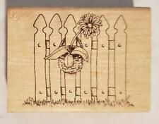 UNKNOWN MAKER RUBBER MOUNTED STAMP PICKET FENCE WITH POTTED FLOWER