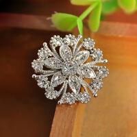 Womens Vintage Alloy Rhinestone Crystal Flower Wedding Bridal Bouquet Brooch Pin