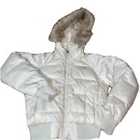 THE NORTH FACE 550 Womens Goose Down Beige Fur Hooded Puffer Bomber Jacket Sz XS