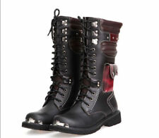 Hot Goth Mens Punk Mid Calf Boots Riding Splice Shoes Motor Combat 2018 UK5-10