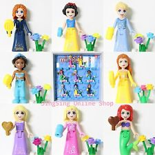 8ps Disney Princess Tiana  Ariel Belle Rapunzel Jasmine Aurora Fits Lego Friends