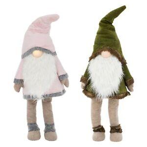 Figurine Gnome Noël ornement lumineux LED avec barbe et capuchon vert/rose 158cm
