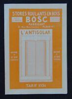 Catalogue 1934 BOSC stores roulants en bois Saint-Dié Vosges Antisolar