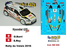 DECAL  1/43 -  HYUNDAI i20  R5  - BURRI  - Rally  VALAIS 2016