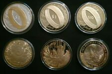 6 Lord of the Rings Gold Plated Coin collection 2003 New Zealand