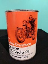 VINTAGE FULL CAN OF HARLEY DAVIDSON PRE-LUXE MOTORCYCLE OIL SAE 60