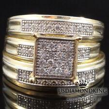 Yellow Gold A+ Cz's Trio Bridal Rings Set 2 Pcs Ladies 1 Pcs Men's His Her 10k