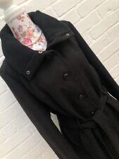 Peacocks Black Coat Buttoned Belt Winter Size 18