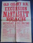 c.1880's FOUR ANTIQUE OLD COLONY RAILROAD POSTERS - NEWPORT - NANTASKET BEACH
