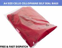 100 X A4 CELLO BAGS CELLOPHANE SELF SEAL BAGS GARMENT DOCUMENT CLOTHES DISPLAY