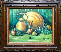Vintage 60s/70s Original Still Life Oil Painting Fruit Signed Carved Wood Frame