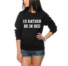 I'd Rather be in Bed Funny Fashion Geek Unisex Jumper - Black & Grey Sweatshirt