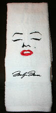 """""""Marilyn Monroe"""" Inspired Forward Face & Signature White HandTowel embroidered"""