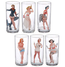 6 Tall Drinking Highball Tumbler Glasses with Pin-Up Girls Decal. 9.5 fl oz ea.