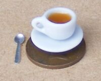 1:12 Scale Tea In White Ceramic Cup With Saucer & Spoon Dolls House Accessory T4