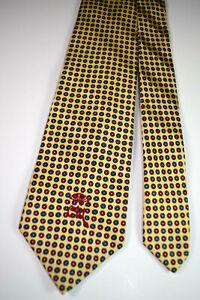 "Countess Mara Neck Tie 55.5"" x 3.5"" Vtg 50s Yellow Foulard Jacquard Stripe NWOT"