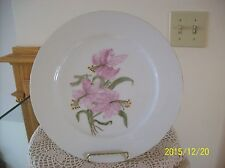 Pink Lily Hand Painted Floral Signed By Artist Porcelain China Plate Charger