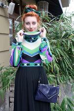 Tasche Handtasche blau Knautschlack Damentasche hand bag 70er True VINTAGE 70´s