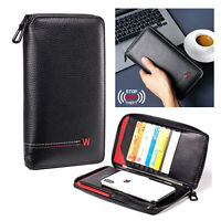 Passport Cell Phone ID Card Holder Leather RFID Blocking Mens Travel Wallet Bag