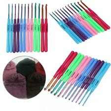 12pcs Multi Colour Aluminum Crochet Hooks Yarn Knitting Needles Set Kit Craft